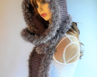 Knit Hooded Scarf Hooded Cowl Hooded Scarves Pixie Hood Scoodie Gray Knit Hat Gray Hood Chunky Winter Hat Faux Fur Trim