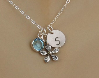 Personalized Flower Girl Initial Necklace with Flower and Birthstone Charms, Flower Girl Gift, Birthday Girl Gift, Birthstone Necklace