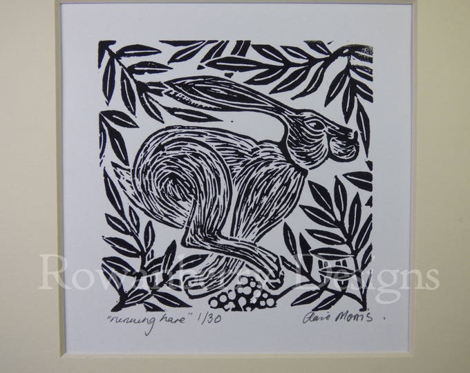 Featured listing image: RUNNING HARE - Original lino cut print - Handprinted Limited edition - Rowanberry Designs