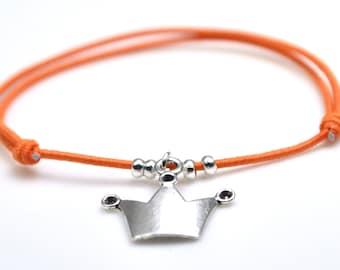 Crown bracelet orange cord