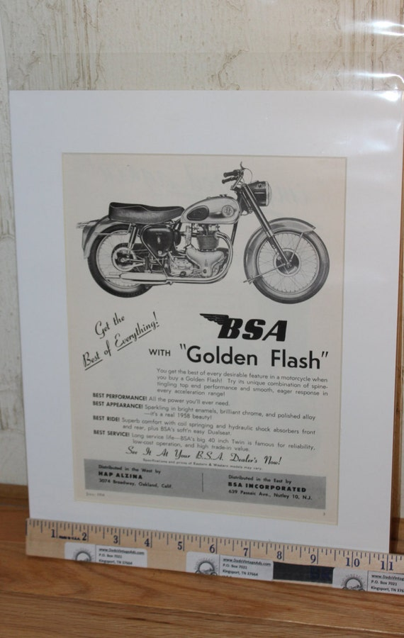 1958 BSA Golden Flash Motorcycle 11'' x 14'' Matted Vintage Ad #5807amot09m