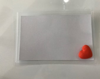 Convention name badge holders - embellished with a pretty flourescent orange heart.