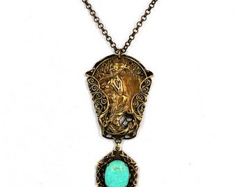 Alphonse Mucha jewelry filigree necklace turquoise vintage pendant Mucha necklace