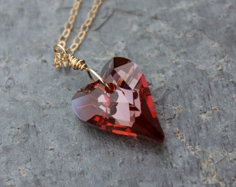 Wild Heart Gold Necklace - fiery warm red Swarovski crystal - Crystal Red Magma - on 14k gold filled chain, free shipping USA