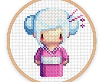 GEISHA GIRL SORA: a pixel art counted cross stitch pattern - digital download - printable pdf file
