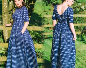 Polka dot dress, spotted dress, navy polka dot dress, open back dress, maxi dress, cotton dress, summer dress, occasion wear, wedding wear