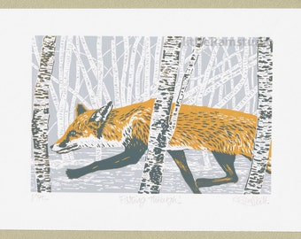 Fox art art print limited edition hand cut linocut print.