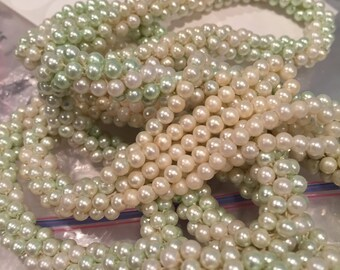 """Faux Pearl 54"""" Twisted Eight Strand Lariat Necklace - CA 1940's - Item# NK108"""