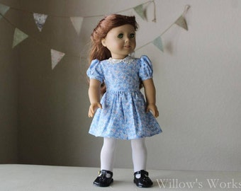 "1940's Blue Floral Dress for 18"" American Girl Dolls"
