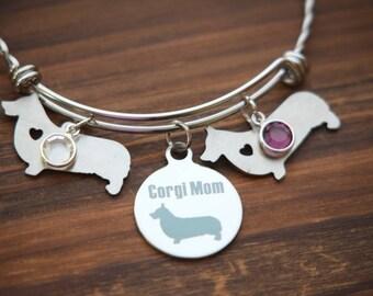 Corgi Mom Bracelet, Dog Mom, Corgi Mom gift, Corgi Mothers Day, Corgi Bangle, corgi Bangle, Corgi Bracelet, Corgi Mom, Corgi Mother
