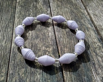 Handmade bracelet pale pastel lilac recycled paper and silver glass beads