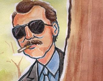 """Bill Murray in """"Rushmore"""" as Herman Blume watercolor - 5""""x7"""" Postcard or 8""""x10"""" Print"""