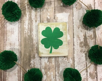 St. Patrick's Day white washed wood painted sign. Rustic. Four leaf clover rustic sign. Home decor. Farmhouse holiday decor.