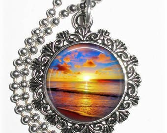 Sunset at the Beach Art Photo Charm Pendant, Free Non Rust Ball Chain Necklace, Jewelry by Yessijewels