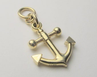 Solid 9K yellow gold anchor