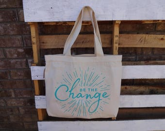 Be the Change Haitian canvas tote bag