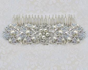 Sale, wedding hair comb, Large Bridal comb, Wedding hair Accessories, Pearl wedding Comb, wedding hairpiece, Large Bridal clip, Pearl Ivy
