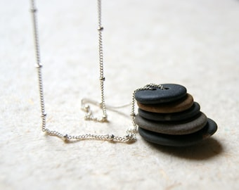 Beach Stone Cairn Necklace - double drilled pebbles with sterling silver satellite chain