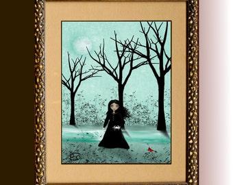 Zodiac Art Goth Girl Art Print  -- Astrological Sign --  CANCER