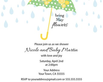 April Showers Printable Baby Shower Invitation