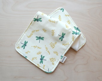 Organic Burp Cloth in Dragonflies - Newborn gift, New Baby Gift, Baby Shower Girl