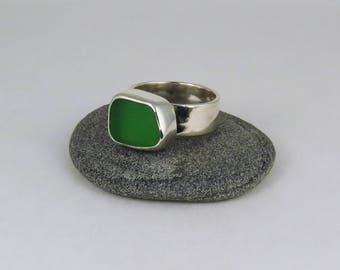 Green Sea Glass Bezel Ring Maine Size 6