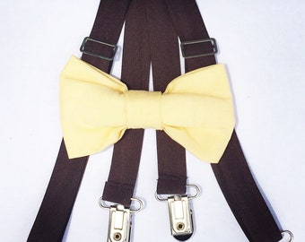 Yellow bow tie suspender set, brown kids suspenders, adjustable suspenders, pale yellow bow tie, baby bow tie, boys bow tie, baby suspenders