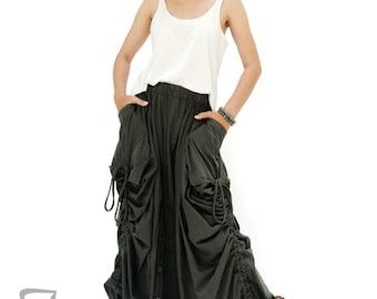 NO.175 Dark Olive Cotton Jersey Mega Pocket Maxi Skirt/Pants, Steampunk Versatility Skirt/Pants
