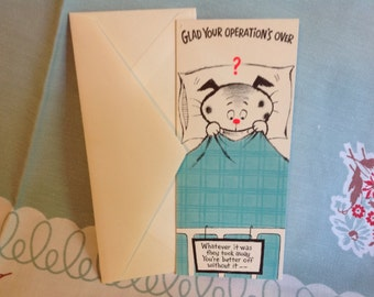 Vintage Get Well Greeting Card Unused with Envelope