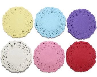 10 colored paper doilies 8 cm