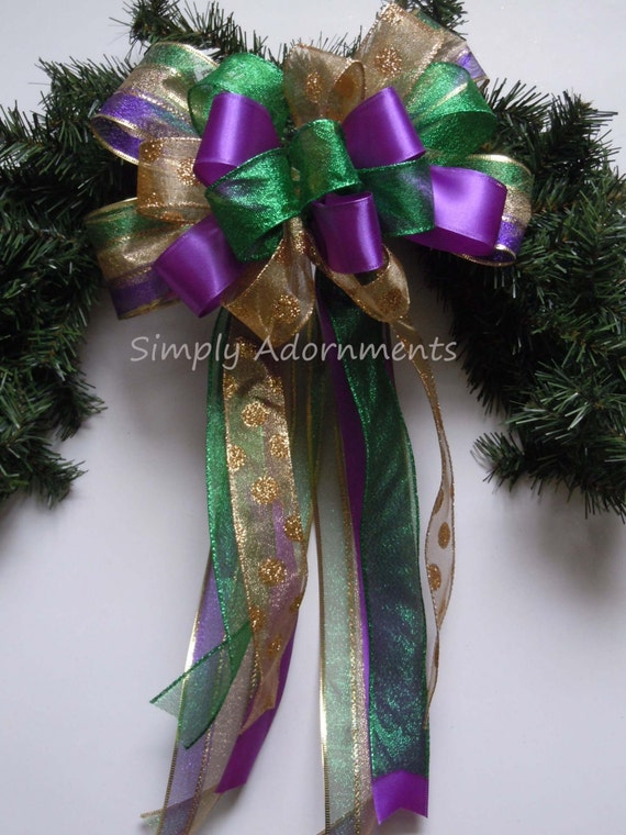 Mardi Gras Christmas Wreath Bow Mardi Gras Wedding Bow Purple Gold Green Bow Mardi Gras Christmas Tree Topper Bow Mardi gras Gift Bow