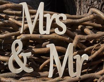 Mrs & Mr Wood letters freestanding