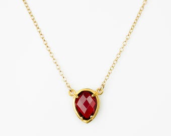 January Birthstone Necklace, Garnet Necklace, Winter Wedding Jewelry, Bridesmaid Gift, Dark Red Gemstone Necklace, Birthday Gift for Her