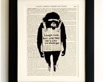 FRAMED ART PRINT on old antique book page - Banksy, Laugh now Monkey, Vintage Upcycled Wall Art Print Encyclopaedia Dictionary Page