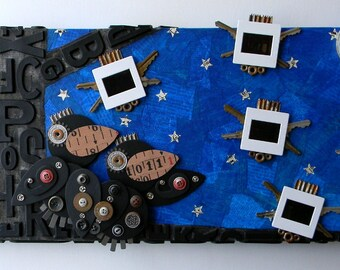 "RESERVED LISTING for Christy- Recycled Art Collage  -  ""Slideshow by moonlight""  -  Original Mixed Media"