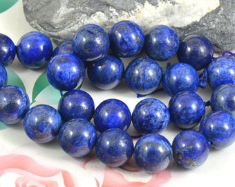 Charm Lapis Lazuli Beads Round Lapis 12mm stone gemstone bead Full One strand 16""