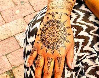 Mehndi Lace Tattoo : Sheet of white henna tattoos lace
