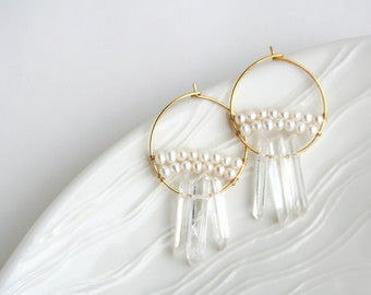 Crystal Hoop Earring, Bohemian Wedding, Raw Crystal Hoops