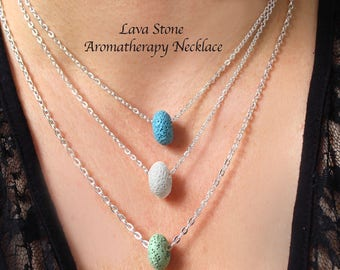 Aromatherapy Necklace, Lava Stone Necklace, Lava Stone Aromatherapy, Rock Necklace, Stress Relief, Aromatherapy Pendant