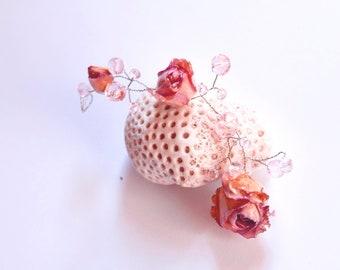Real rose hair vine bridal head piece pastel flower hair piece boho wedding head piece, bridal tiara boho dried flower halo Woodland wedding