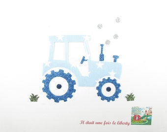 Applique tractor fabric fusing blue starry sky flex glitter patch liberty fusible iron-on applique patches