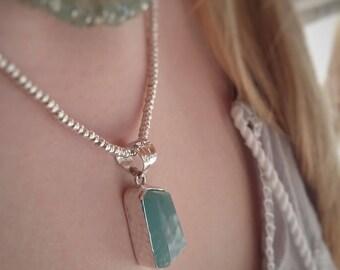 Aquamarine Pendant - Aquamarine Jewelry - Sky Blue Aquamarine