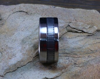 Titanium with Damascus steel offset inlay