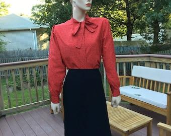 Darling Vintage Red Blouse