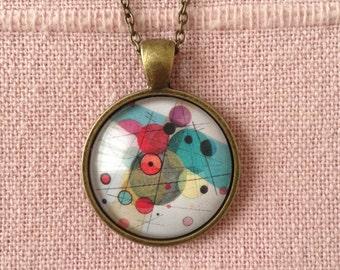 Hanging Kandinsky pendant circles in a circle