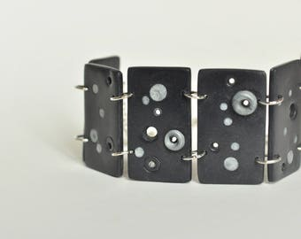Graphic of polymer clay and silver metal Cuff Bracelet