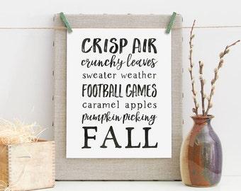Fall Favorites, Printable Art, Inspirational Print, Simple Print, Farmhouse, Instant Download, Rustic, Seasonal Printable