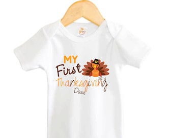 My First Thanksgiving Personalized Shirt Turkey Baby Bodysuit Personalized