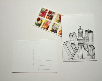 Des Moines Iowa Postcard - Pen drawing print