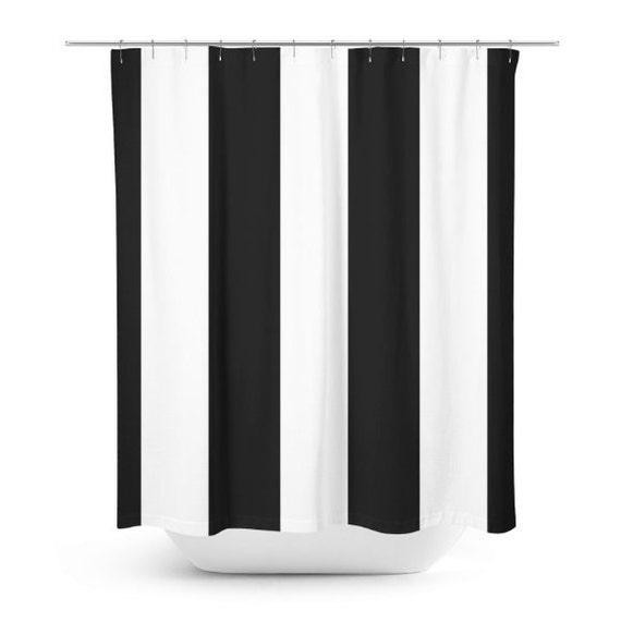 Minimalist Bathroom Items: Black White Shower Curtain Bathroom Decor Minimalist